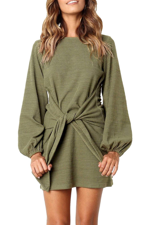 1772db6f329 R.Vivimos Women's Autumn Winter Cotton Long Sleeves Elegant Knitted Bodycon  Tie Waist Sweater Pencil Dress