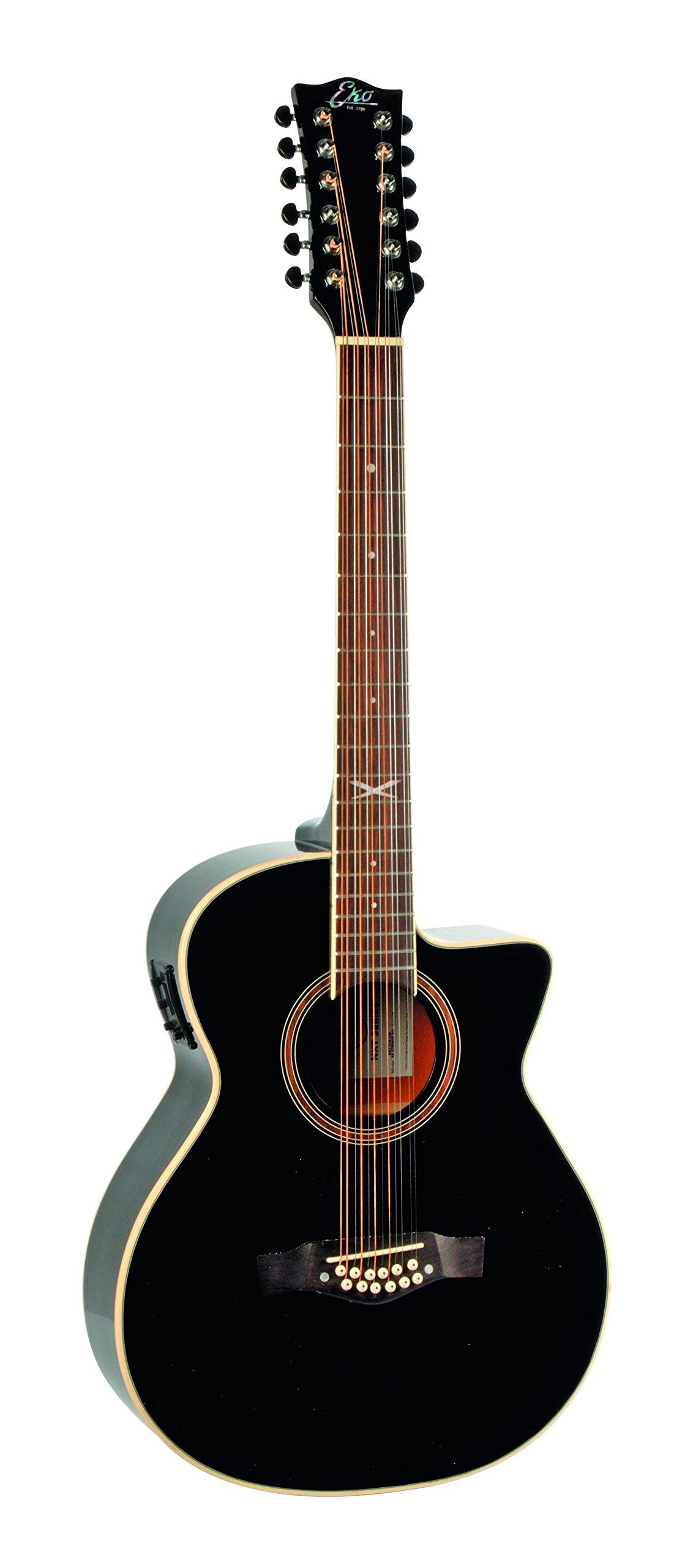 EKO Guitars 06217029 NXT Series 12-String Auditorium Cutaway Acoustic-Electric Guitar, Black