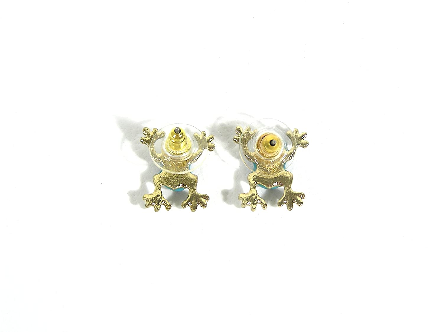 Tree Frog Stud Earrings Teal Rainforest Toad EC04 Pave Posts Fashion Jewelry
