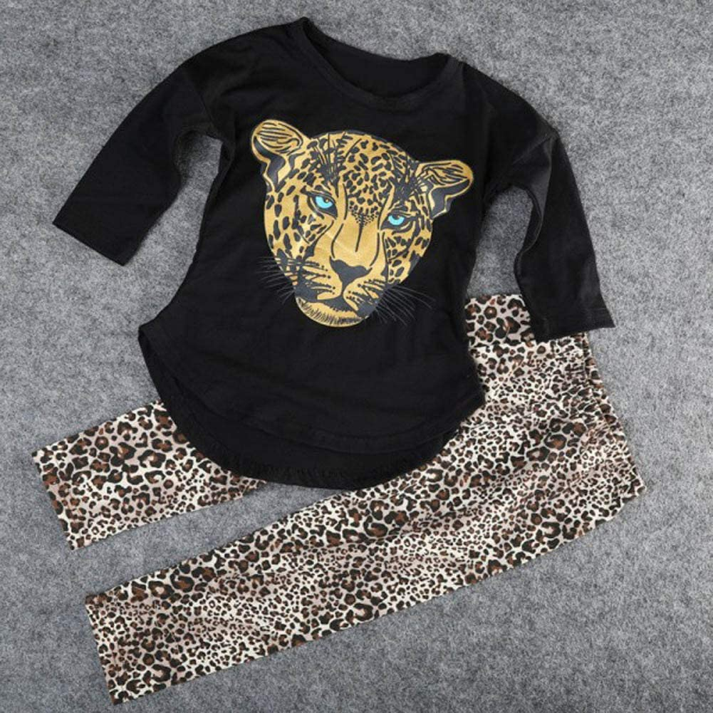 ggudd Girls Leopard Printed Long Sleeve Tops and Leggings Pants Outfits Sets