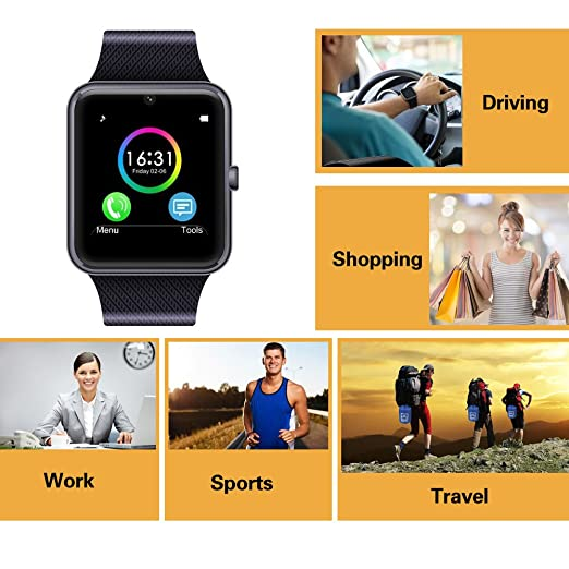 Amazon.com: MSRM Smart Watch Phone 1.54 Inch Phone Syc Support Android 4.3 above and iPhone5s/6/6s/7/7s (Partial Functions for iPhone) (Black): Cell Phones ...