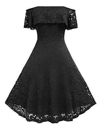 1fbddb13d3e9 Hyling Women s Fall Dresses Bridesmaid Lace Cocktail Party Black Dress ( Black