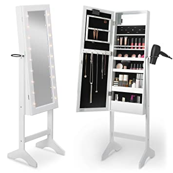 Amazon.com: Beautify Mirrored Jewelry Armoire with LED Lights ...