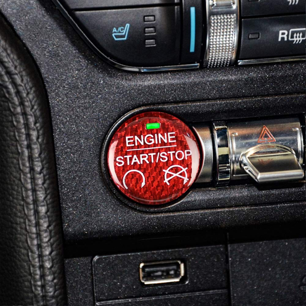 Red AIRSPEED for Ford Mustang Carbon Fiber Car Engine Start Stop Button Sticker Interior Trim