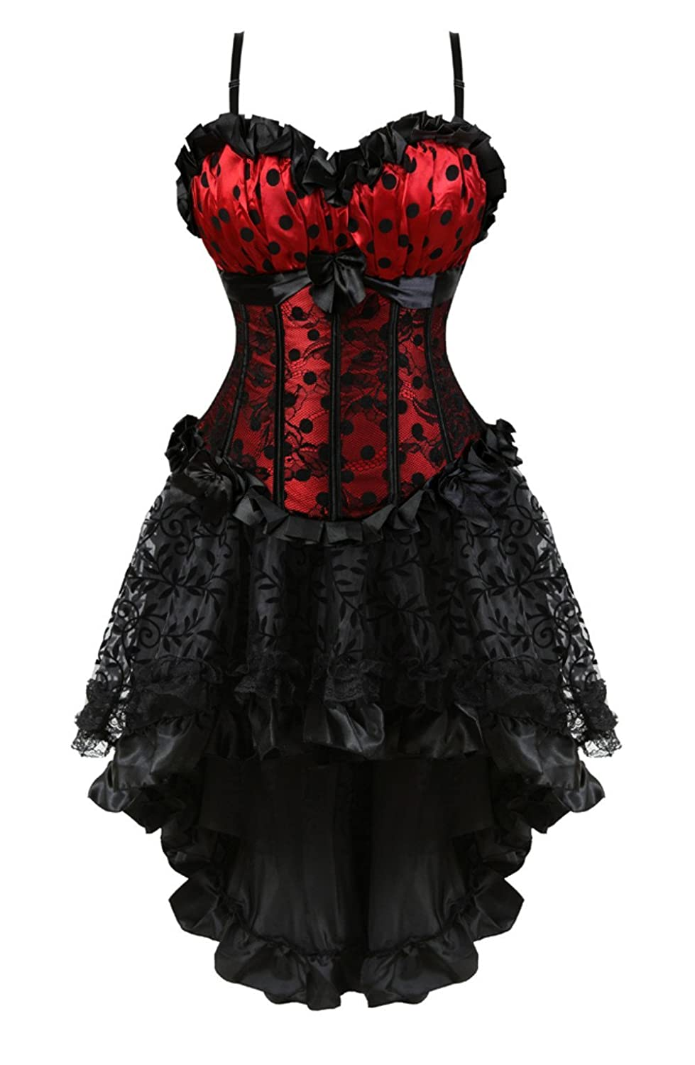 2796 Red Grebrafan Steampunk Corset Skirt with Zipper,Multi Layered High Low Outfits