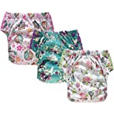 Large Swim Diaper Training Pants – Special Needs Reusable Cloth Diaper with Insert for Big Kids Girls or Boys 3-Pack (Size 3/35-60Lb, Girl)