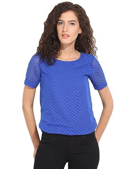85bb115721cb03 Hook & Eye Blue Short Sleeve Net Top X-Large: Amazon.in: Clothing ...