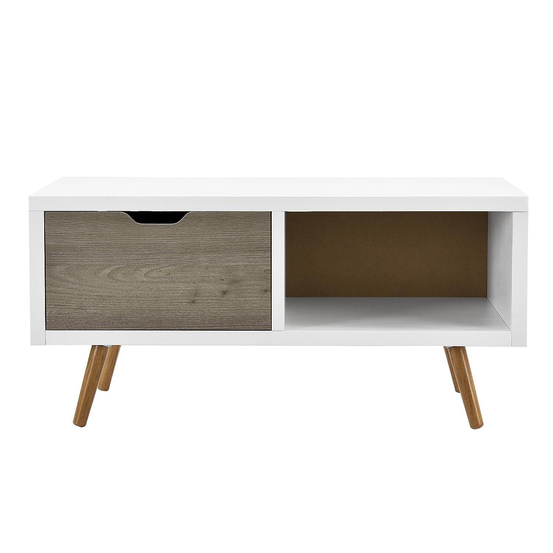 C/ómoda Retro Sideboard Mesa de TV Lowboard Mesa Auxiliar con Caj/ón y Compartimento Roble y Blanco y Gris en.casa /®