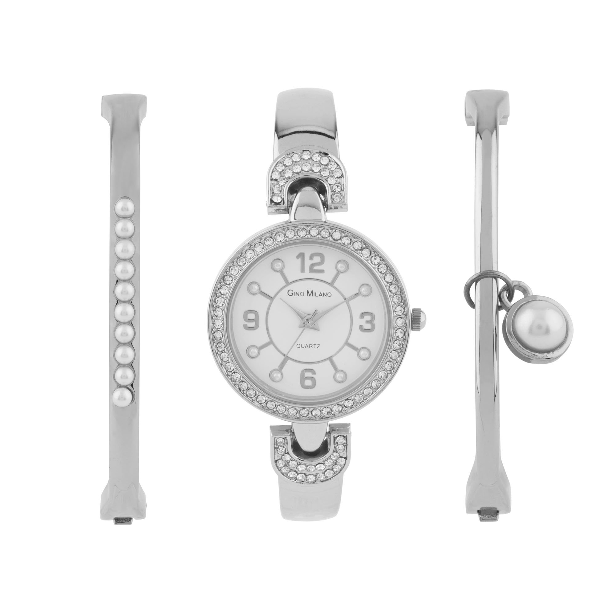 Ladies Gold Watch with Matching Pearl Bracelets Gift Set (Silver)