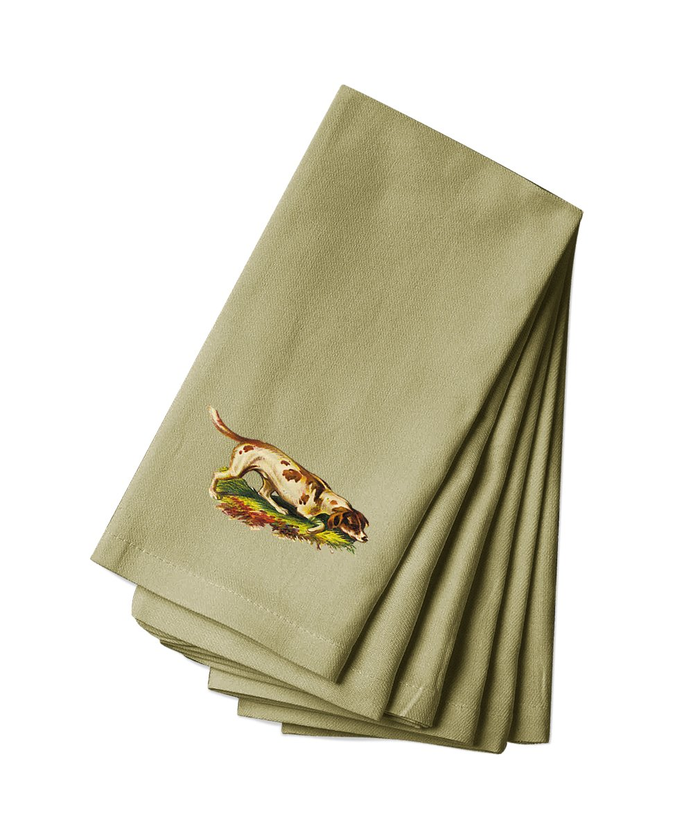 Style in Print Cotton Canvas Dinner Napkin Set Of 4 Hunting Dog Pets Animals By