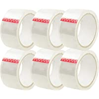 AhaTech Packing Tape - Clear, 6 Rolls (48mm x 75m per roll), Heavy Duty Thick and Strong Bulk Pack Tapes