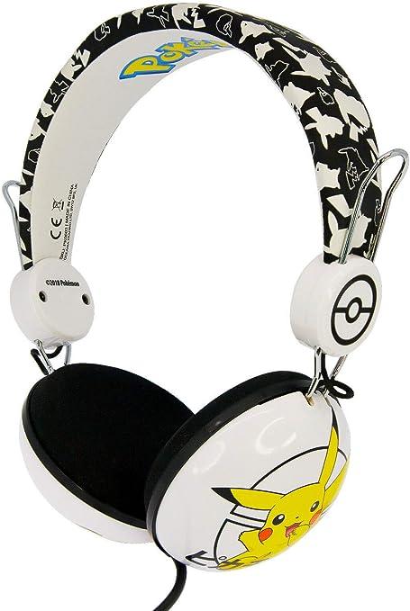 OTL Technologies TWEEN Kinder Kopfhörer Pokemon Pikachu (faltbar, Gepolsterte Bügel, Buntes Comic Design, für Jungen und Mädchen) WeißSchwarz
