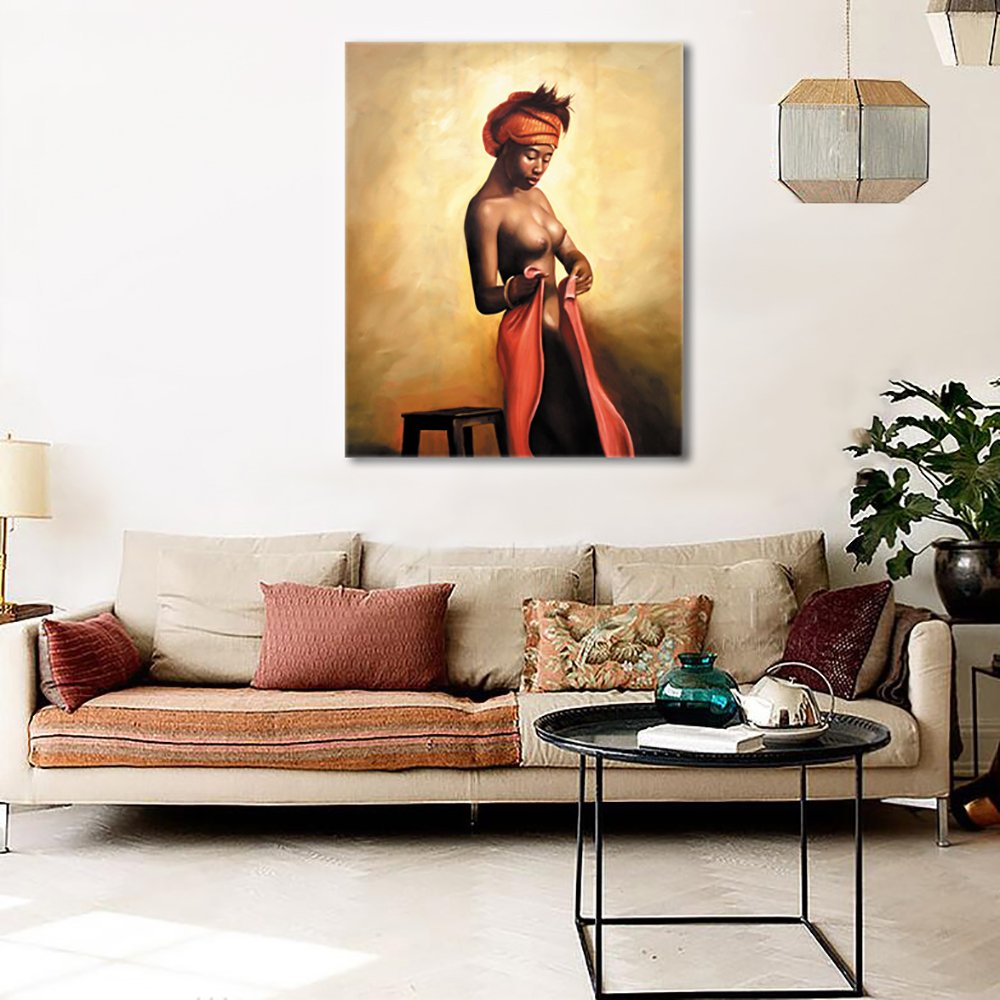 Bon Amazon.com: Sexy Naked African Americans Girl Printed Painting On Canvas Wall  Art Nude Prints Picture For Home Decoration Or Hotel Framed (50x60cm):  Posters ...