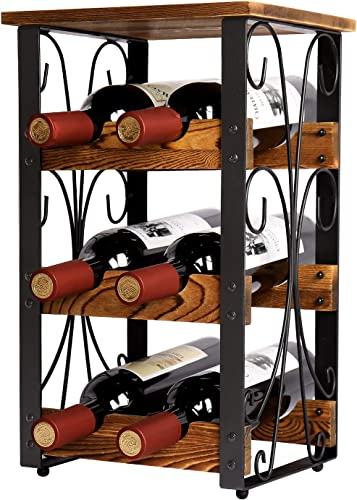 X-cosrack Rustic 6 Bottles Tabletop Wine Rack Freestanding 3 Tier Wine Organizer Holder Stand Countertop Liquor Storage Shelf Solid Wood Iron 10.6″ L x 8.6″ W x 17.8″ H