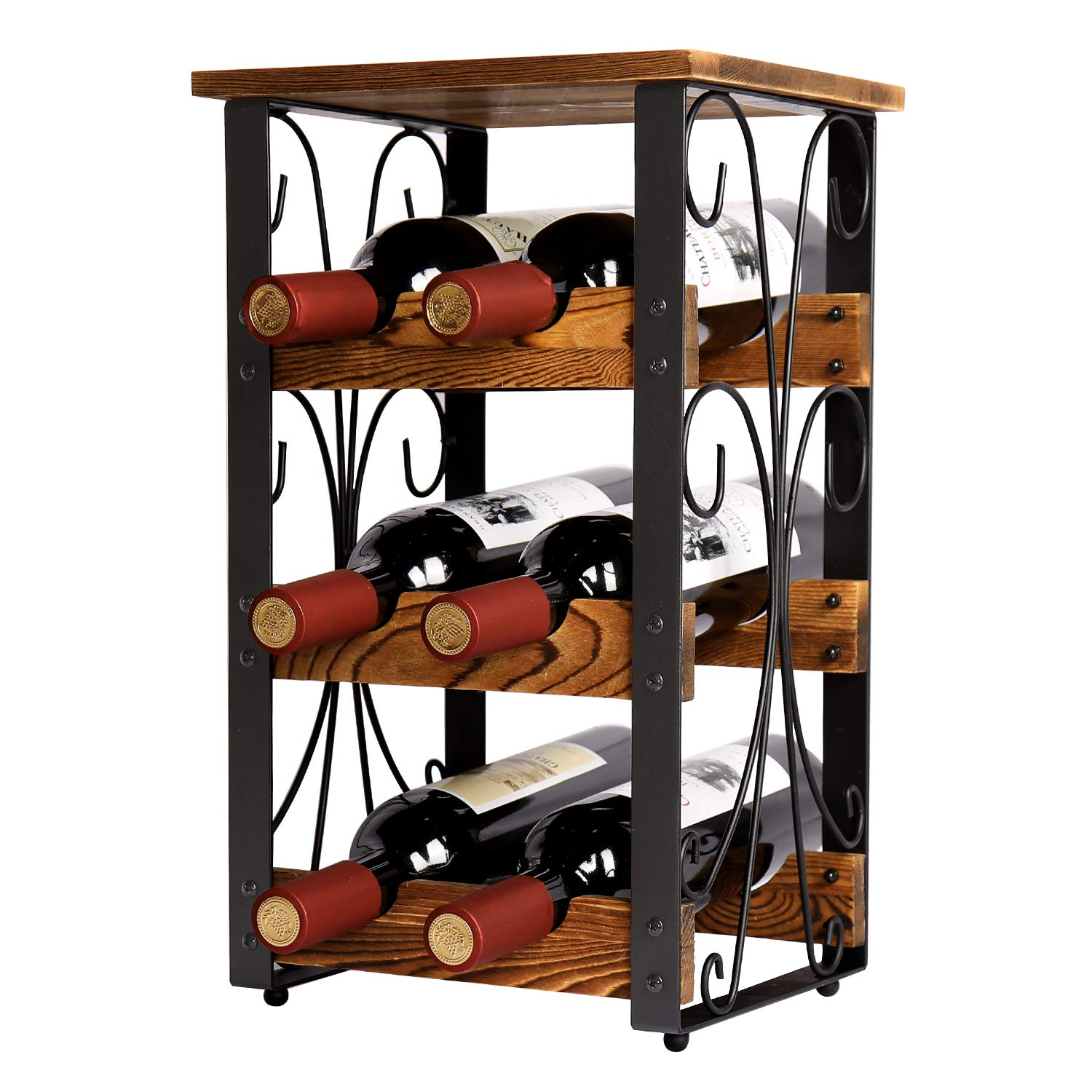 X-cosrack Rustic 6 Bottles Tabletop Wine Rack Freestanding 3 Tier Wine Organizer