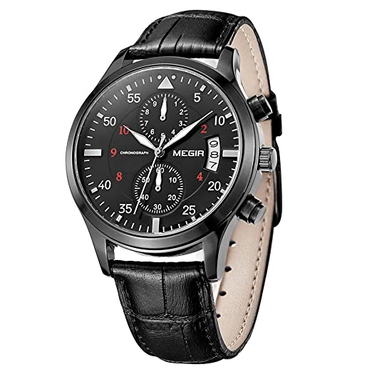 Megir – Reloj sport de hombre automático con cronógrafo, calendario, fecha, correa de piel negra y movimiento de cuarzo: Amazon.es: Relojes