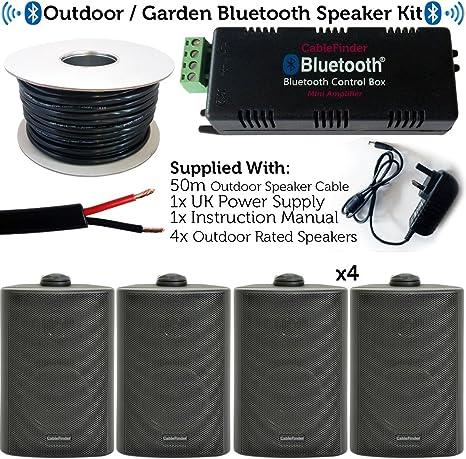 Sistema de Altavoces Bluetooth para Exteriores/Exteriores, Kit de Barbacoa para Fiestas en el jardín, Mini Amplificador inalámbrico de 30 W y 4 Altavoces Negros Impermeables de 60 W: Amazon.es: Electrónica