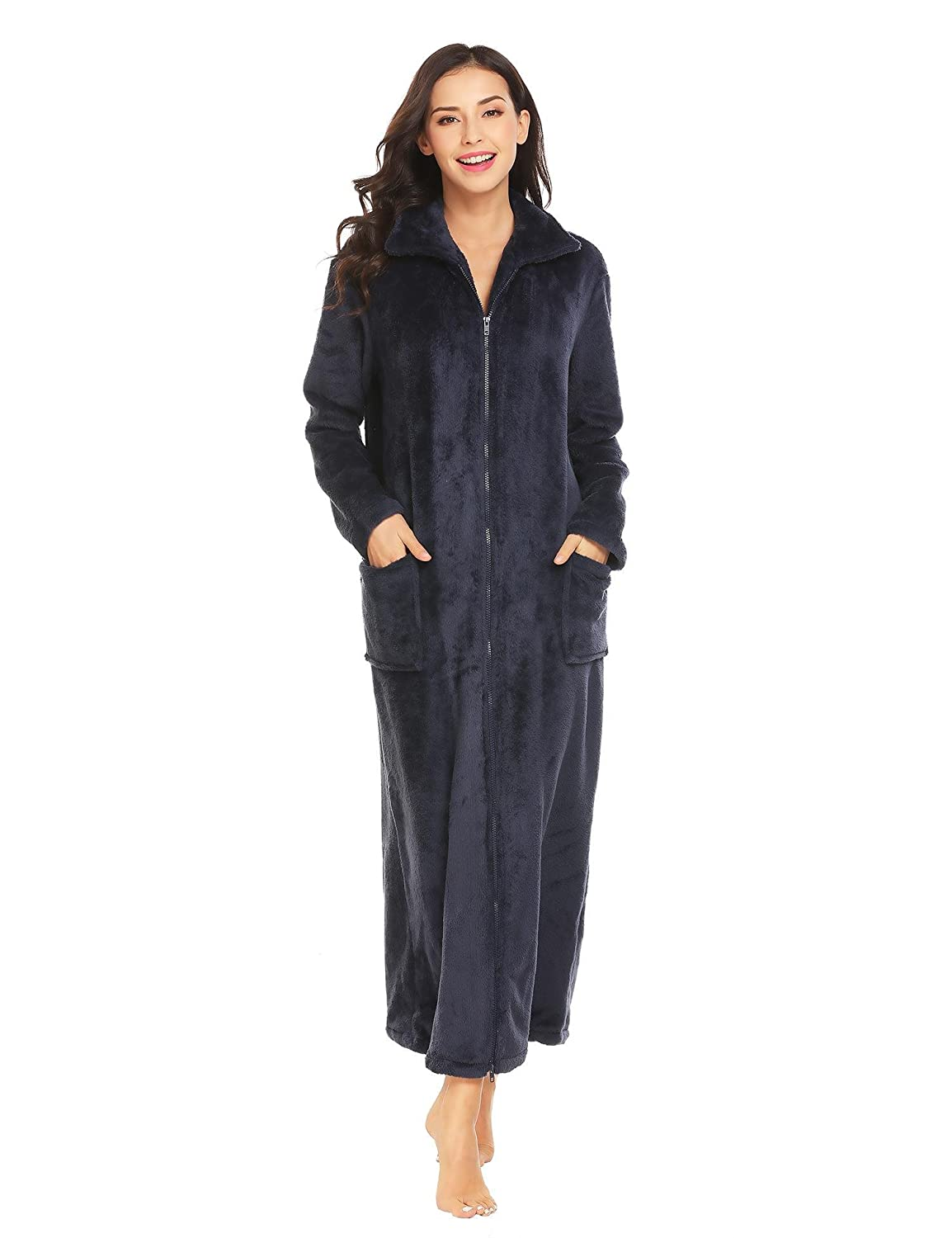 398207d8fb Ekouaer Women s Flannel Robe Zipper Front Robes Full Length Bathrobe(S-XXL)  at Amazon Women s Clothing store