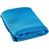 """Lunaoo Instant Cooling Towel Long 40""""x12"""" Chemical-free Breathable Reusable and Easy to Carry Cooling Relief after Yoga Sports Hikes Runs Gardening Fishing Outdoor Adventure"""