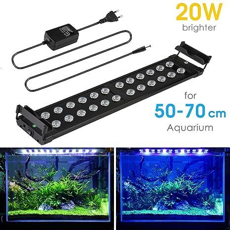 Lámpara Acuario Luces Impermeable LED 20W para Acuarios de Peces y Estanques con soporte ajustable para