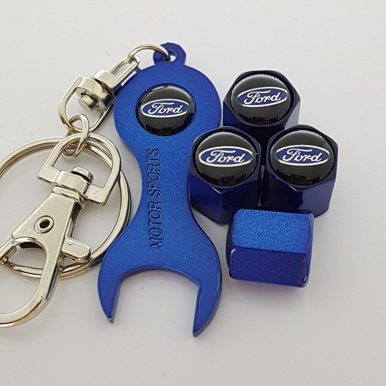 Bouchons de protection FORD soupape bleue avec trousseau de clé double face logo s'adapte à tous les modèles