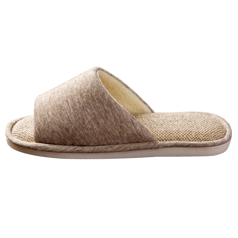 ONCAI Men's Cotton Linen Couple House Slipper Open Toe Terry Slipper (9-10.5 D(M) US, Gray-2) by ONCAI (Image #2)