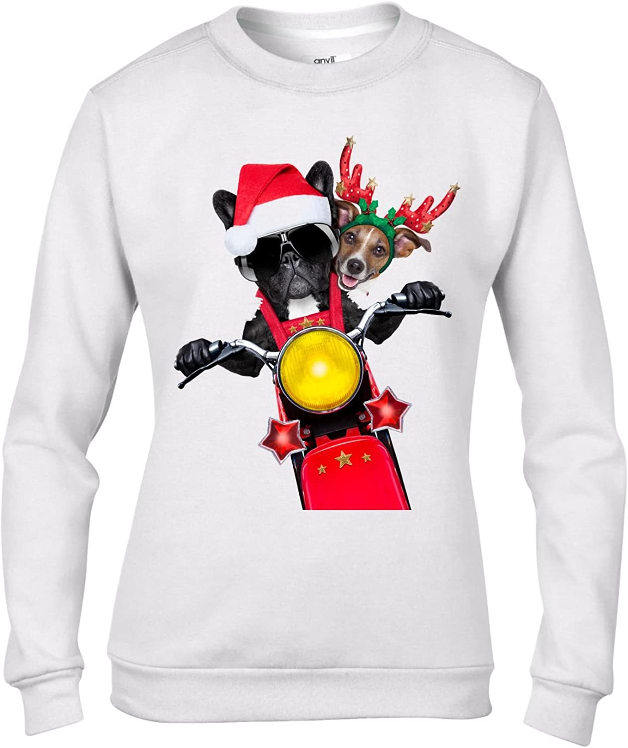French Bulldog And Jack Russell Santa Claus Women/'s Christmas Jumper Biker Dogs Animals