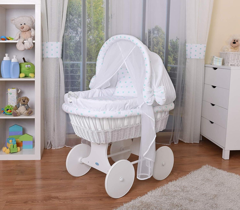 WALDIN Baby Stubenwagen-Set mit Ausstattung, XXL, Bollerwagen, komplett, 44 Modelle wählbar, Gestell/Räder grau lackiert, Stoffe weiß 44 Modelle wählbar Stoffe weiß