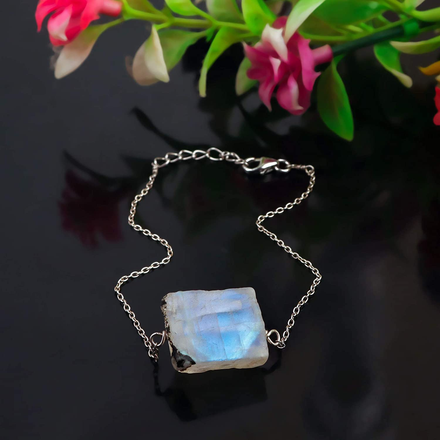 Natural Raw Moonstone Necklace 925 Streling Silver Jewelry Women Gemstone Gift