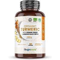Cúrcuma Orgánica de 1520 mg con Jengibre y Pimienta Negra 180 Cápsulas Veganas…