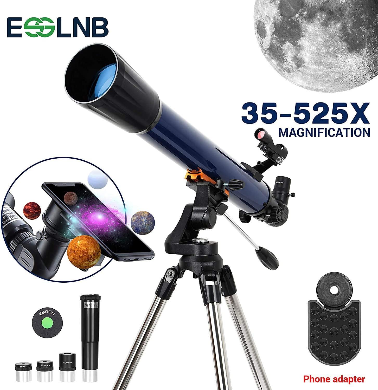ESSLNB Telescopio Astronomico 70070 con Adaptador de Teléfono Ajustable Acero Inoxidable Trípode Erecto-Imagen Punto Rojo Alcance del Buscador Lente Barlow Filtro de Luna: Amazon.es: Electrónica