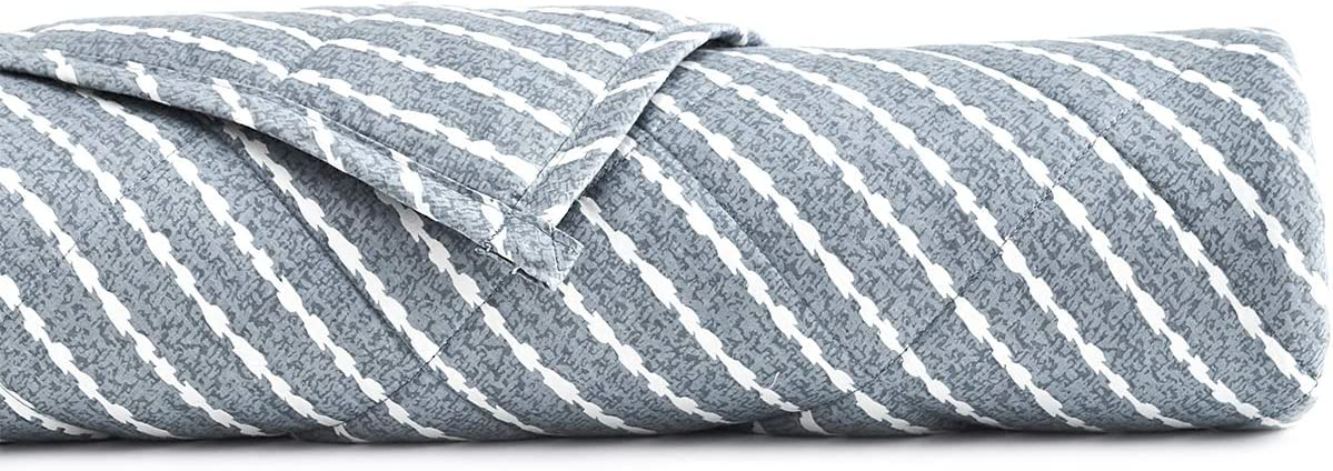 YnM Weighted Blanket (15 lbs, 60''x80'', Queen Size) for People Weigh around 140lbs | 2.0 Cozy Heavy Blanket | 100% Oeko-Tex Certified Cotton Material with Premium Glass Beads, Blue White