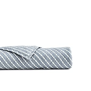 YnM Weighted Blanket (20 lbs, 60''x80'', Queen Size) for People Weigh Around 190lbs | 2.0 Cozy Heavy Blanket | 100% Oeko-Tex Certified Cotton Material with Premium Glass Beads, Blue White