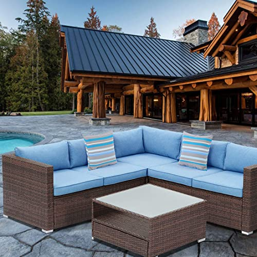 HOMPUS Outdoor Sectional Sofa 4-Piece All Weather Patio Handwoven Brown Wicker Furniture Set w Royal Blue Seat Cushion