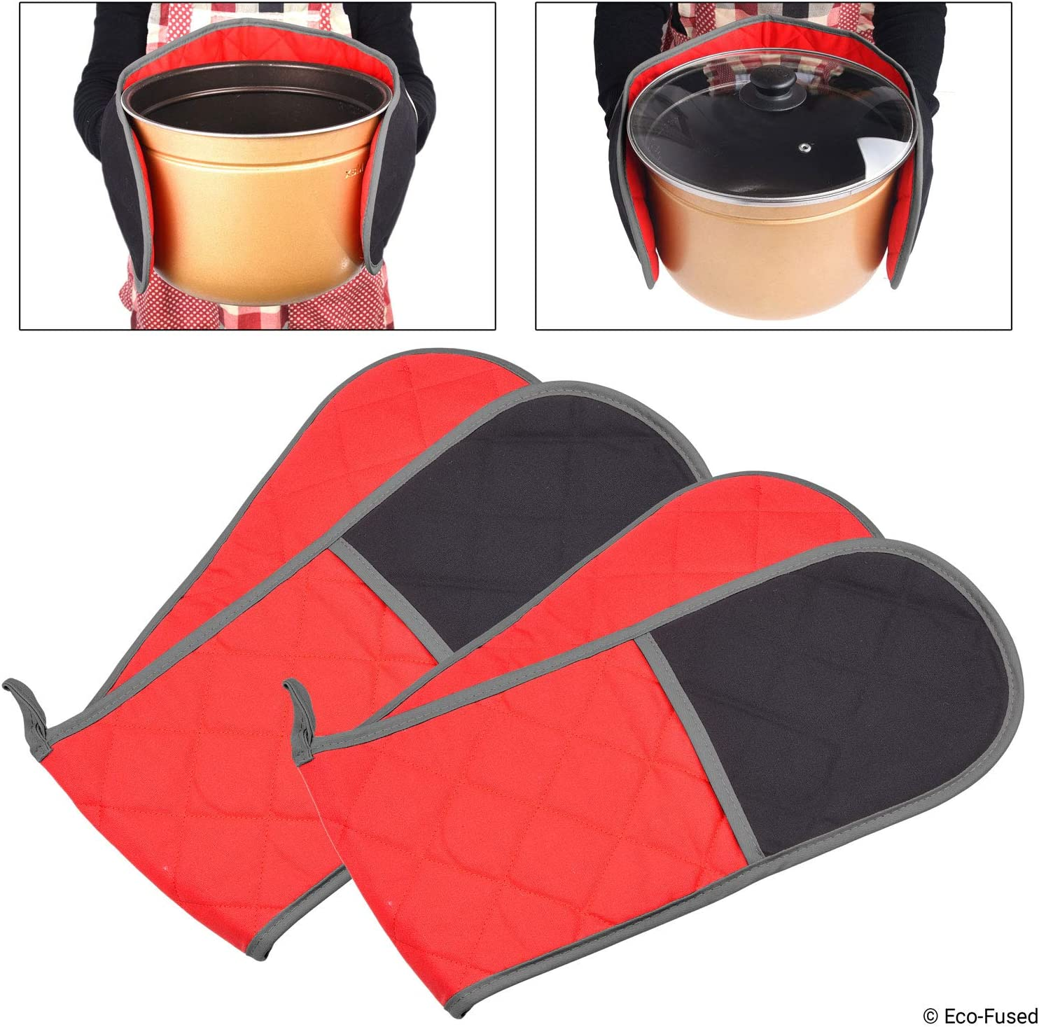 Double Oven Mitts - Set of 2 - Wrap and Grab Design - Protects your Hands, Arms and Torso - Red and Black Quilted Cotton Lining with Taupe Piping - Hanging Loop - Also Works as Utensil Pouch or Trivet