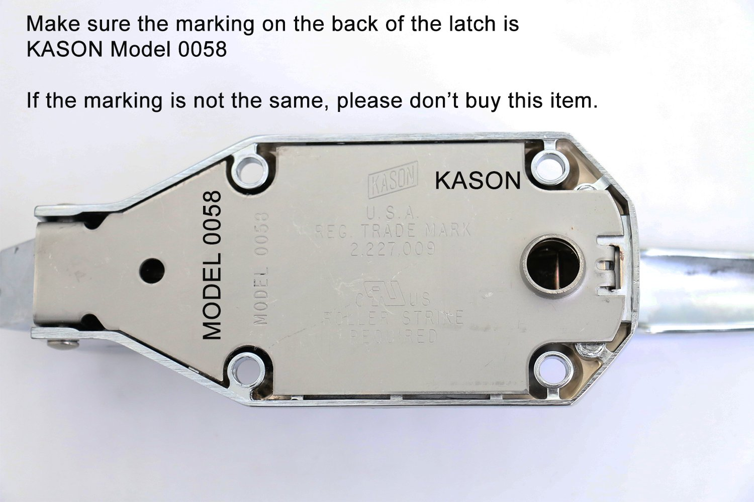 Kason K58 Series Walk-In Safety Chrome Latch Complete (Select Offset from Flush to 2-1/2'') (Offset - Flush) by Kason (Image #4)