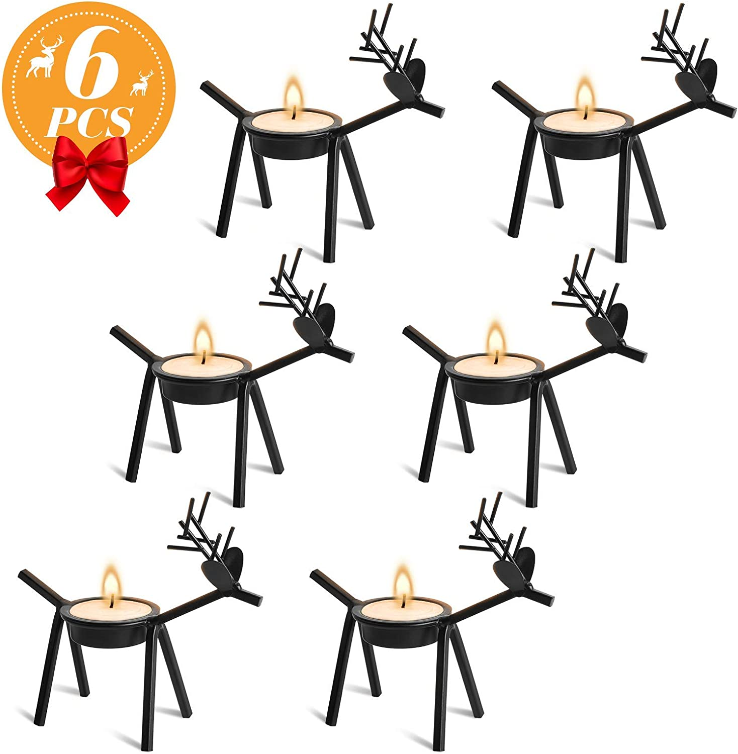 Ponwec 6Pcs Reindeer Tea Light Candle Holders,Black Metal Tea Light Stands for Christmas Home,Kitchen,Table Decorations