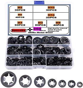 SpzcdZa 260pcs (7 size)Internal Tooth Starlock Washers Locking Washer Assortment Kit, Push On Speed Clips Fasteners Assortment Kit,Quick Speed Locking Washers,Black Oxide Finish65Mn Black Oxide Finish