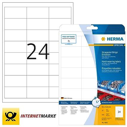 bedruckbar selbstklebend 2.400 Klebeetiketten wei/ß Herma 4670 Universal Etiketten 100 Blatt DIN A4 Premium Papier matt 66 x 33,8 mm