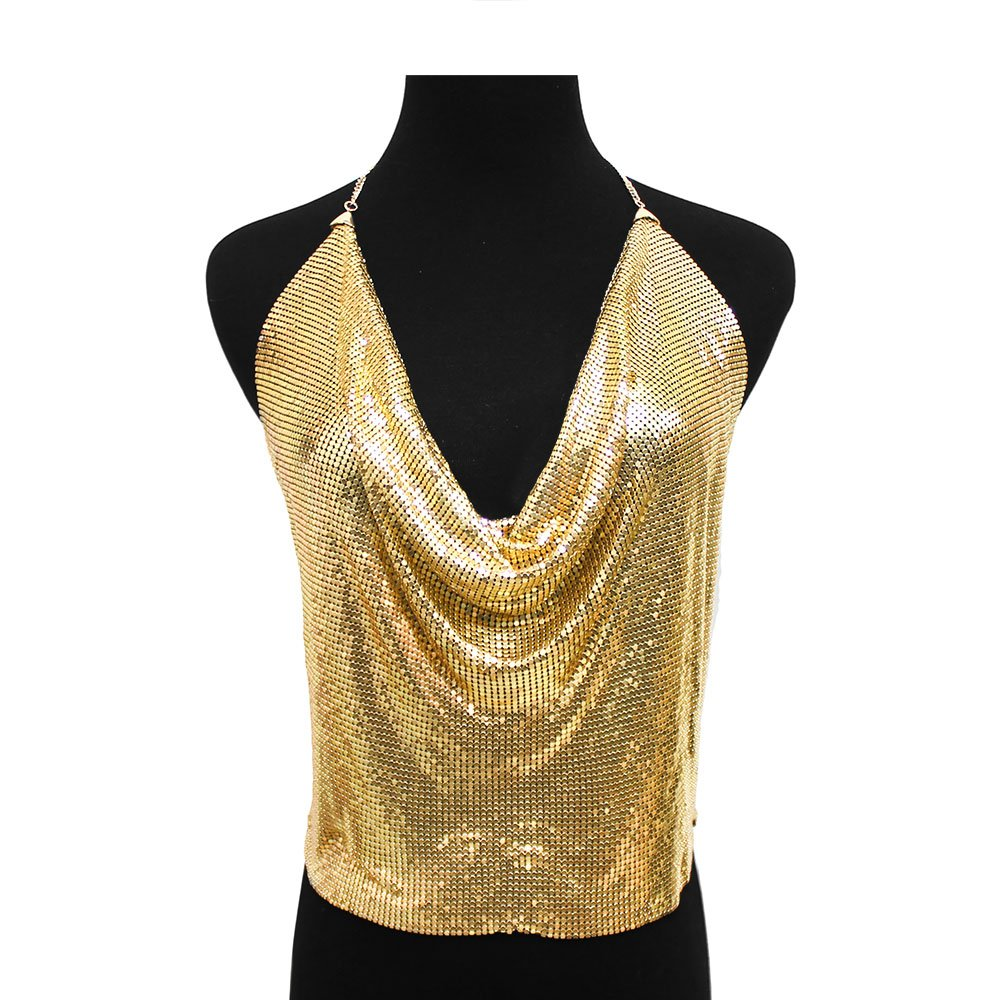NYFASHION101 Women's Sexy Body Jewelry Mesh Chain Backless Halter Top, Gold-Tone