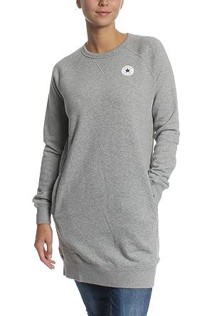 separation shoes adbca e2d1e Converse Long Sweatshirt Damen CORE Sweatshirt Dress 10004545 Hellgrau 035