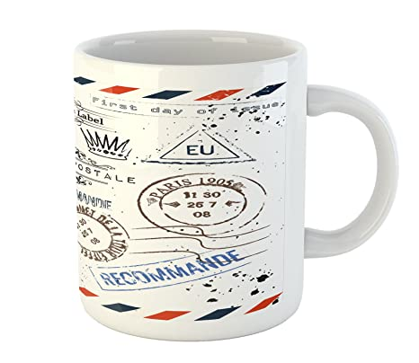 Amazon.com: Vintage taza por Ambesonne, Retro Post sellos ...