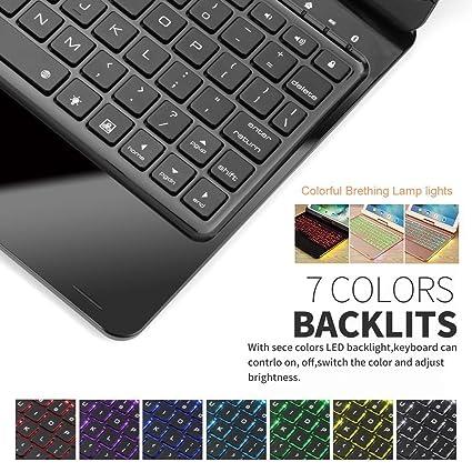 Funda de teclado iPad 9.7,SUAVER 360° rotación horizontal Wireless Keyboard Case con 7 colores retroiluminado Bluetooth Teclado y Auto Sleep/Wake (Negro): ...