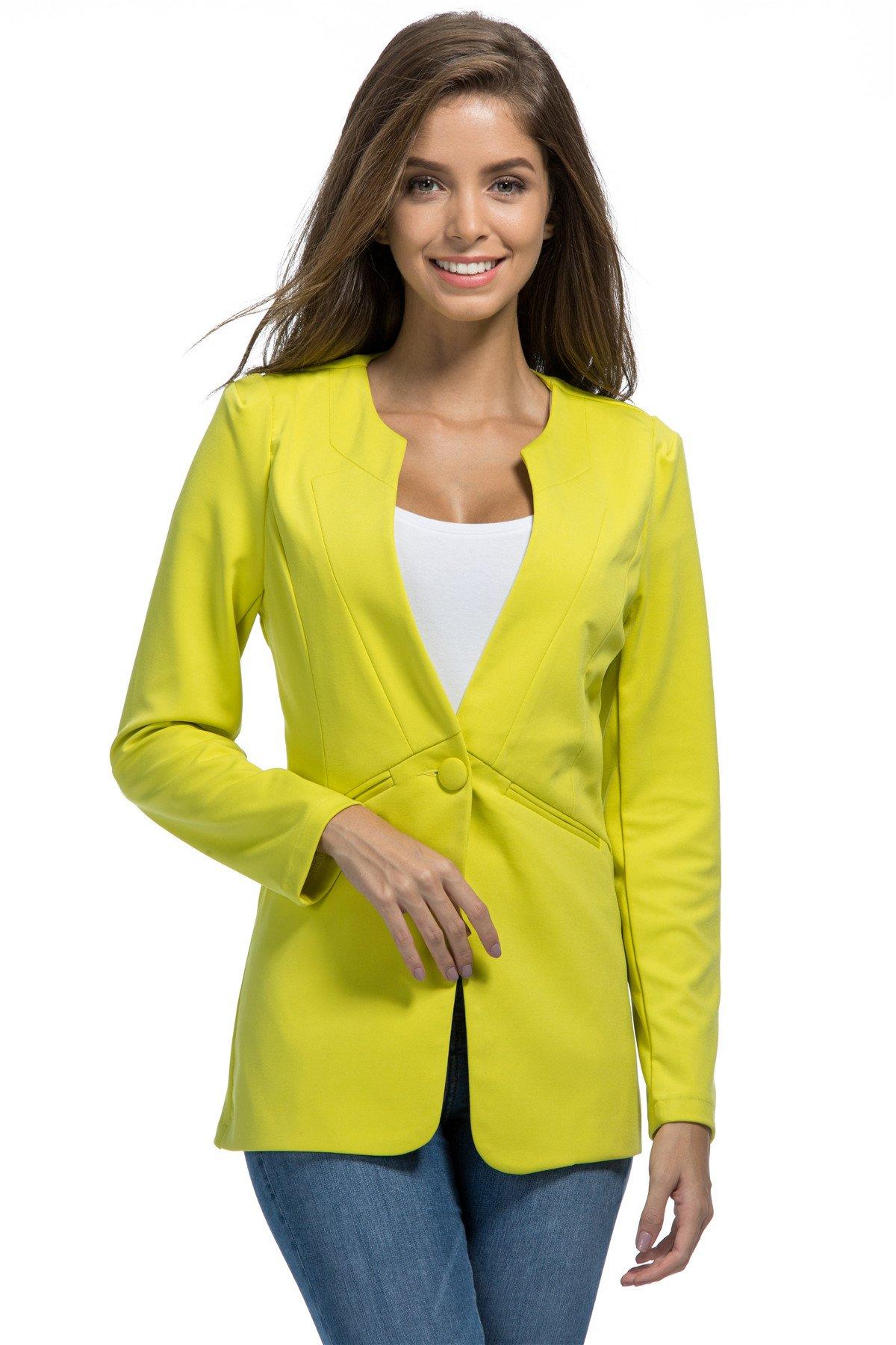 My Wonderful World Women's O-Neck One Button Long Blazer XX-Large Lemon Green (US 8)