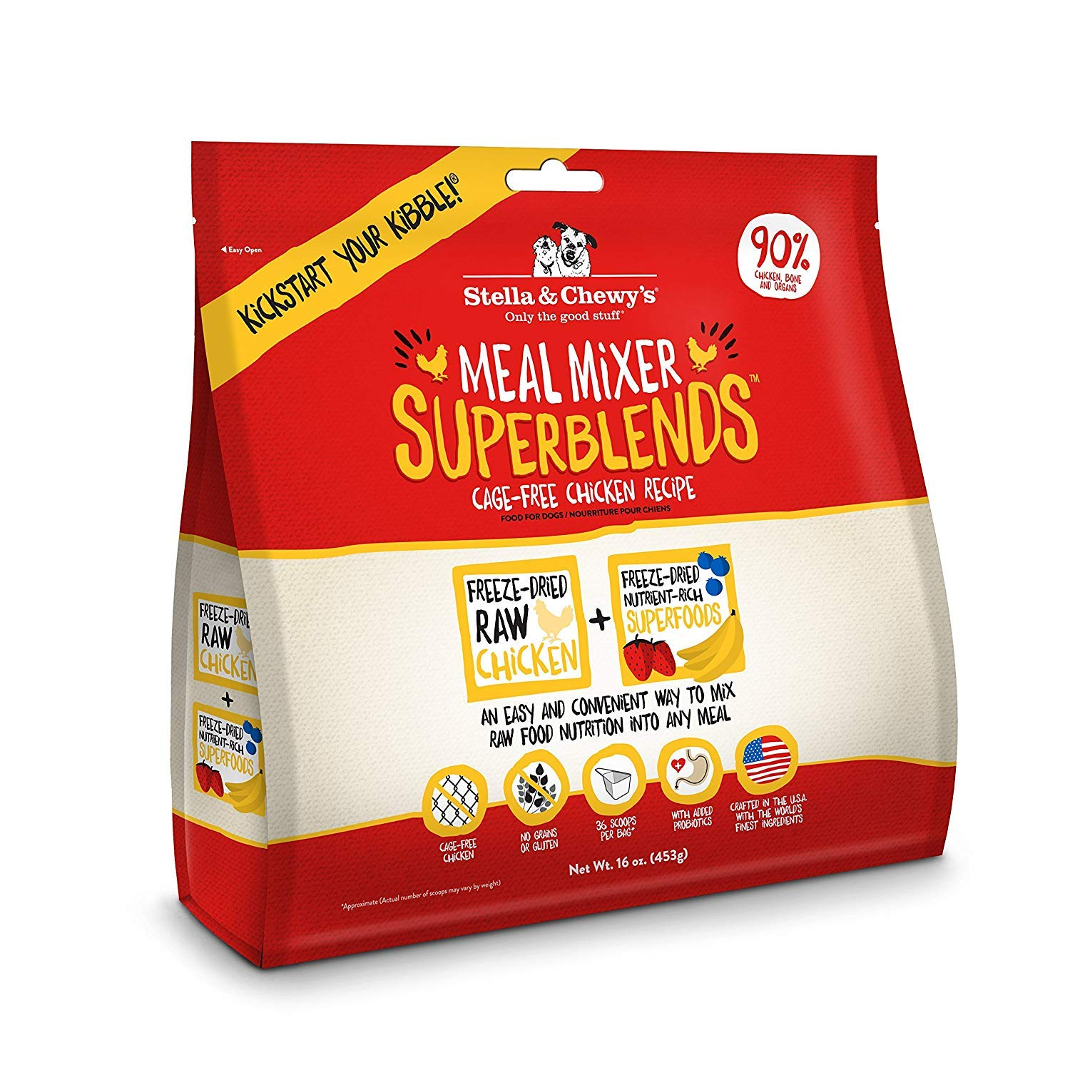 Stella & Chewy's Freeze-Dried Raw Meal Mixer SuperBlends Cage-Free Chicken Recipe Grain-Free Dog Food Topper, 32 oz bag by Stella & Chewy's