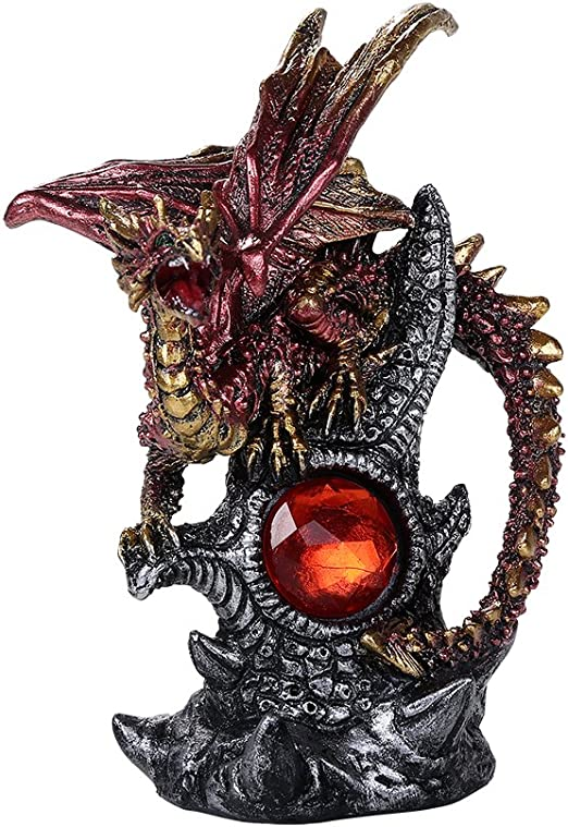 Pacific Giftware Medieval Fantasy Guardian Dragon Protecting Red Gemstone Fantasy World Decor Collectible Figurine Blue
