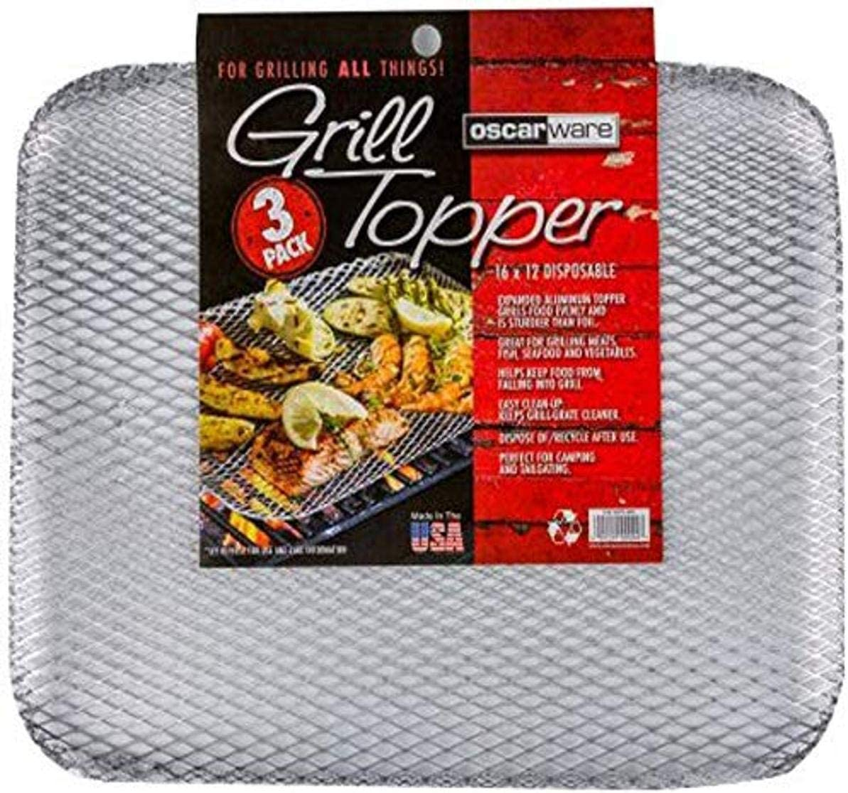 Oscarware 3-Pack Disposable Grill Topper, 16 by 12-Inch : Garden & Outdoor