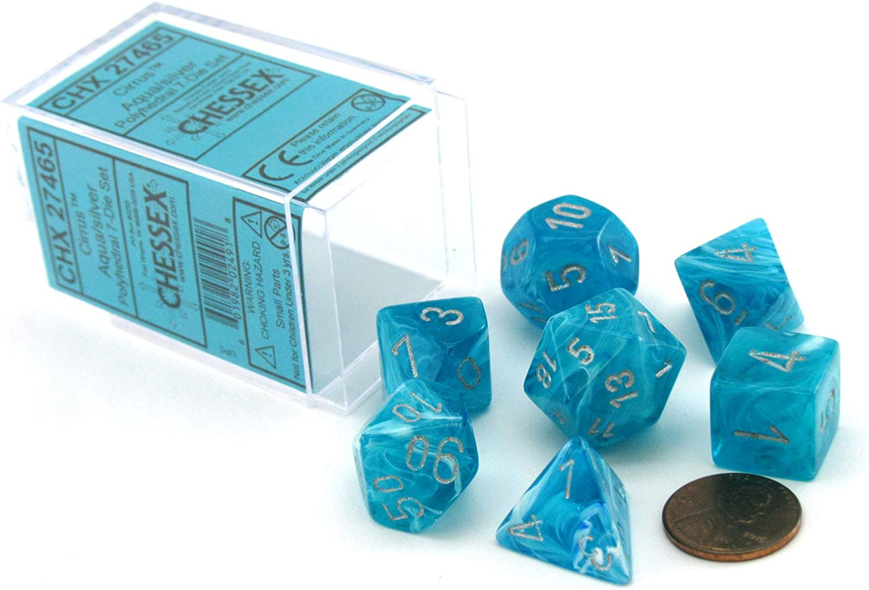 Aqua Blue 7pc Spiral Dice Set