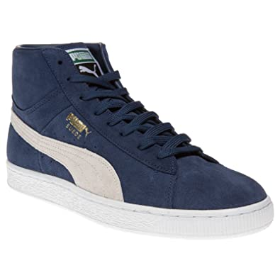 6911e2fadf91 Puma Men s Suede Mid Classic + Blue Leather Boat Shoes - 10UK India (44.5