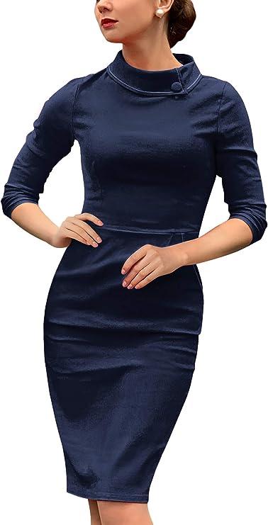 Miusol damska sukienka biznesowa z rękawami 3/4, wzÓr w krok po kroku: Odzież